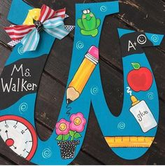 Your place to buy and sell all things handmade Teacher letter door hanger Teacher Door Signs, Teacher Door Hangers, Letter Door Hangers, Initial Door Hanger, Letter To Teacher, Teacher Doors, Teacher Wreaths, School Wreaths, Painted Initials