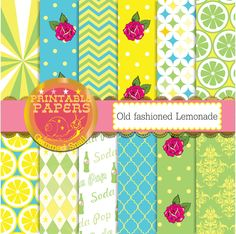 green blue and yellow digital paper, 'old fashioned lemonade' backgrounds by GemmedSnail on Etsy