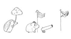 hedgehog with a mushroom umbrella!