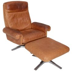 1stdibs - Swiveling caramel leather armchair and ottoman by De Sede explore items from 1,700  global dealers at 1stdibs.com
