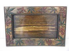 13.5 x 9 decorative rolling  tray marijuana leaf with icp hatchet man
