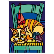 Illustration of Cat on Chair Poster