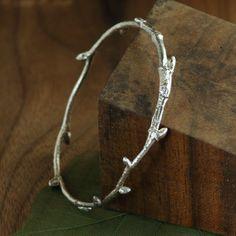 American Elm Tree Twig Bangle Bracelet in Sterling Silver, Twig Bracelet