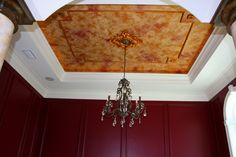 Gorgeous Ceiling and molding.   Love the Wall Paint too!  Design/Builder Waugh Custom Homes #waughinteriordesigns #FauxCeilings