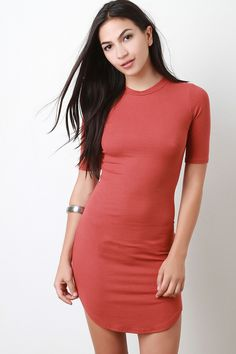 Rib Knit Short Sleeve Bodycon Dress