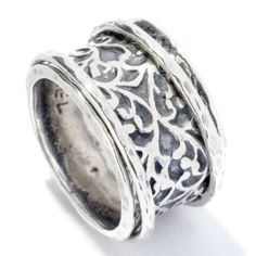 Passage to Israel™ Sterling Silver Oxidized Scroll Wide Band Spinner Ring