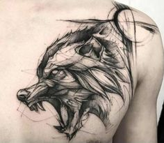60 Amazing Wolf Tattoos - The Best You'll Ever See - Page 3 .- 60 Amazing Wolf Tattoos – The Best You'll Ever See – Page 3 of 6 A sketch style wolf by BK - Wolf Tattoo Design, Tattoo Design Drawings, Tattoo Sleeve Designs, Sleeve Tattoos, Fenrir Tattoo, Norse Tattoo, Viking Tattoos, Celtic Tattoos, Trendy Tattoos