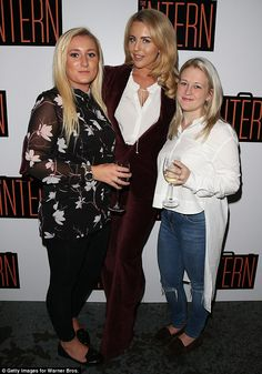 Strike a pose: Bright was joined at the photocall bycompetition winners Jemima Flood and ...
