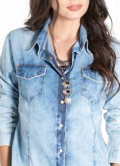 Camisa Jeans Feminina (Azul) Mercatto