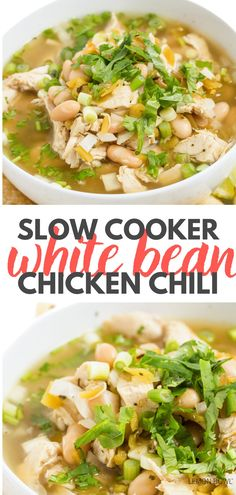 This hearty, slow cooker chili combines chicken, white beans, green chilis and all of your favorite Mexican spices into a delicious, protein-packed dinner – perfect for busy weeknights. White Bean Chicken Chili Slow Cooker, Slow Cooker Chicken Curry, Slow Cooker Chili, Healthy Slow Cooker, Slow Cooker Recipes, Chicken Soup Recipes, Healthy Soup Recipes, Lebanese Lentil Soup, Green Chilis