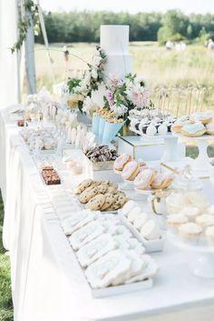 Dessert Bar Wedding, Candy Bar Wedding, Wedding Sweets, Elegant Dessert Table, Sweet Table Wedding, Outdoor Dessert Table, Dessert Display Table, Baptism Dessert Table, Cookie Bar Wedding