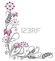 Flowers in pink and black with butterflies photo