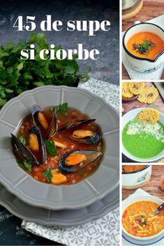 Nu mai stii ce sa gatesti? Ai aici peste 45 de idei de supe si ciorbe delicioase! Mai, Soup Recipes, Soups, Food And Drink, Chicken, Soup, Cubs, Chowder