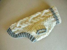 chihuahua knitted dog sweater patterns | Dog Sweater - Diamond Cable Knit - Ivory - Small - Yorkie - Chihuahua