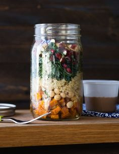 Kale Autumn Salad in a Jar-- This easy-to-assemble, seasonal salad is perfect when you need lunch on the go! Packed with protein, healthy fat, and antioxidant rich pomegranate seeds, this salad is sure to keep your body fueled through the afternoon. Healthy Salad Recipes, Vegetarian Recipes, Healthy Lunches, Dairy Recipes, Vegetarian Salad, Raw Recipes, Healthy Dinners, Veggie Recipes, Appetizer Recipes