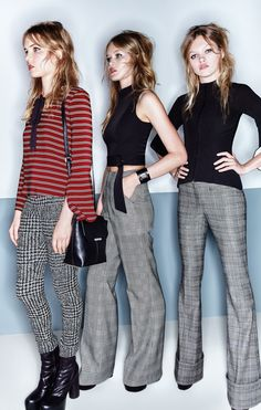 Skinny Tie Smock Top, Blurred Houndstooth Skinny Pant  Crop Belted Funnel Neck Top, Prince of Wales Check Baggy Trouser Two Tone Bell Sleeve Top Prince of Wales Check Cuffed Trouser  Metal Detail Sling Bag, Eyelet Cuff