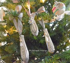 ornaments made from tarnished old knives