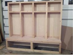 lockers with bench plans Mudroom locker/Boot bench - Woodworking Talk - Woodworkers Forum Mudroom Bench Plans, Mudroom Cubbies, Mudroom Organizer, Desk Plans, Workbench Plans, Table Plans, Garage Lockers, Wooden Lockers, Diy Locker