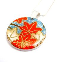Autumn Leaves Round Pendant by Jackdaw on Etsy, $24.00