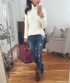 Casual fall outfit - cream cable sweater, boyfriend jeans, booties, burgundy bag