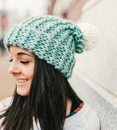Seafoam Knit Pom Hat by Cristin Rae Knitwear + Accessories on Scoutmob Shoppe