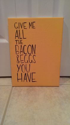 Parks and Recreation Bacon and Eggs Canvas Quote Art