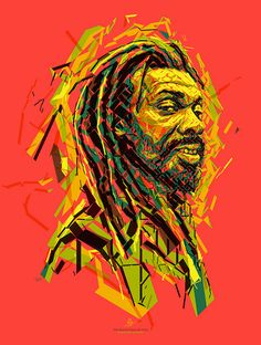 Joseph Hill: Keeper of Zion Gate  Portrait of Joseph Hill for the Reggae Hall of Fame foundation. This poster is donated to raise funds to support the Alpha Boys School in Jamaica. Created by Charis Tsevis.   Joseph Hill, Culture, Leader, Band, Reggae, Ska, Jamaica, Carribean, Africa, music, rock, panafrican, illustration, portrait, mosaic, lines, Alpha Boys School, Jah, Rastafari, Haile Selassie, One Love Peace Concert