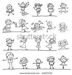 hand drawing cartoon character kids playing illustration
