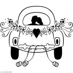 Sello Boda - Coche escarabajo - 5,9 x 5,9 cm - Fotografía n°1