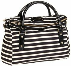 Kate Spade New York Kate Spade Nylon Stripe Small Leslie Satchel,Black/Cream,One Size