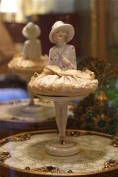 Rare Antique Powder Puff Doll Germany Half doll powder jar compact related N/R   eBay