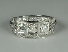 Fabulous 3 Stone Art Deco Ring
