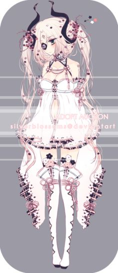 [CLOSED] Adopt auction: Flower demon by silverblossoms.deviantart.com on @DeviantArt
