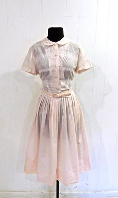 a092d84dbf4 vintage pink eyelet dress - 1950s Nelly Don belted light pink cotton dress