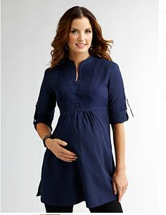 Maternity Pintucked Bib Tunic via Shade clothing - for the future Maternity Tunic, Casual Maternity, Maternity Dresses, Maternity Fashion, Maternity Wardrobe, Clothes For Pregnant Women, Stylish Clothes For Women, Pregnancy Looks, Pregnancy Outfits