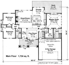 Craftsman Style House Plan - 3 Beds 2 Baths 1724 Sq/Ft Plan #51-521 Floor Plan - Main Floor Plan - Houseplans.com