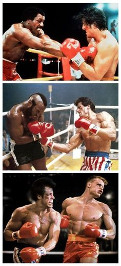Rocky v's Apollo Creed, Clubber Lang and Ivan Drago. Stand your ground in the market when your competitors try to bully you. Rocky Stallone, Rocky Sylvester Stallone, Rocky Film, Rocky Balboa Movie, Rocky 3, Segundo Round, Movie Stars, Movie Tv, Apollo Creed