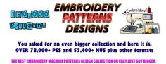 150,000+ Embroidery Machine Patterns Designs in .PES & .HUS format on DVDS-FREE  #Brother