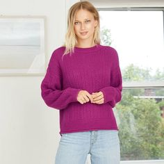 Preppy Sweater, Purple Sweater, Pullover Sweaters, Crewneck Sweater, Leather Booties, Rib Knit, Looks Great, Sweaters For Women, Crew Neck