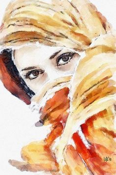 Watercolor painting has the reputation of being quite demanding; it is more accurate to say that watercolor techniques are unique to watercolor. Watercolor Portraits, Watercolor Paintings, Watercolours, Watercolor Eyes, Portrait Art, Beautiful Paintings, Painting Inspiration, Female Art, Painting & Drawing