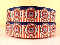 1 Yard United States Coast Guard 1 Grosgrain Ribbon for sale online Military Ribbons, Coast Guard, Grosgrain Ribbon, Cuff Bracelets, United States, Unique Jewelry, Handmade Gifts, Crafting, Yard