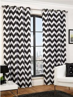Make a statement in your room with black & white chevron curtains White Eyelet Curtains, Black White Curtains, Grey Chevron Curtains, Interior Paint Colors For Living Room, Curtains With Blinds, Printed Curtains, Boys Curtains, Hamilton, Black White
