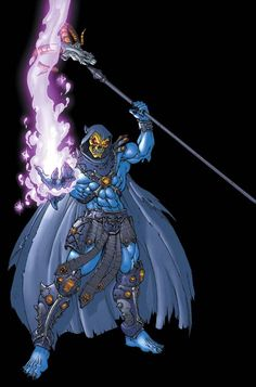 """Skeletor (Keldor aliases; Lord of the Night,   Lord of Destruction, Overlord of Evil) (Gar) (Infinitia,  Centre of the Universe)  Demon, evil sorcerer. Cruel, dominating, power-hungry. A vast range of dark magical powers. Many magical weapons. 6' 3"""" tall."""