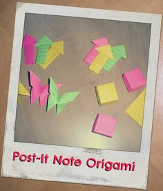 Origami with Post-It Notes, how to, butterfly, box, arrow, papertapepins.blogspot.ca