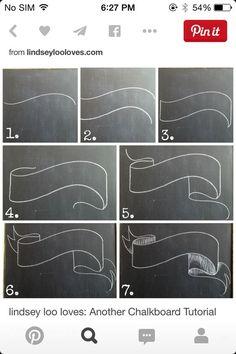 Banner, wavy banner & double banner tutorial for chalkboard art & lettering Chalkboard Fonts, Chalkboard Banner, Chalkboard Designs, Chalkboard Paint, Chalkboard Ideas, Chalkboard Drawings, Chalkboard Art Tutorial, Chalkboard Lettering Alphabet, Chalk Lettering