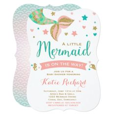 #Mermaid Baby Shower Invitation Little Mermaid Baby - #giftidea #gift #present #idea #one #first #bday #birthday #1stbirthday #party #1st