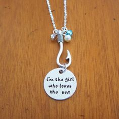 Polynesian Princess Necklace. I'm the girl who loves the sea. Wayfinder. Adventurer. Island girl. Ocean Lover. Beach. Hand stamped. by WithLoveFromOC - Item:2017-03-09 02:33:06