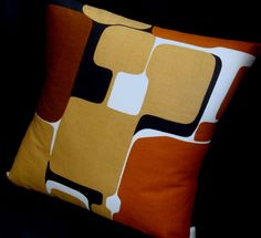 Mid Century Pillow Cover CoLoR BLoCK NuTmeg by atomiclivinhome Irregular blocks with rounded edges