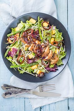 Kip teriyaki salade - Leuke recepten Best Picture For Healthy eating For Your Taste You are looking Healthy Chicken Dinner, Healthy Dinner Recipes, Healthy Cooking, Healthy Eating, Healthy Diners, Soup And Salad, Food Inspiration, Salad Recipes, Tapas
