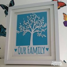This beautiful family tree is hand cut from 160gsm white paper using only a scalpel. There is space for up to eight names, and the text